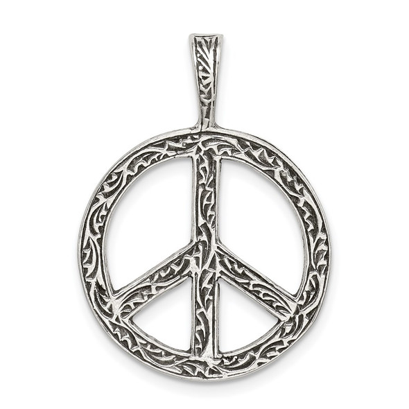 Sterling Silver Antiqued Peace Sign Pendant