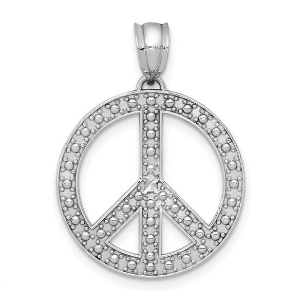 14k White Gold Peace Symbol Pendant
