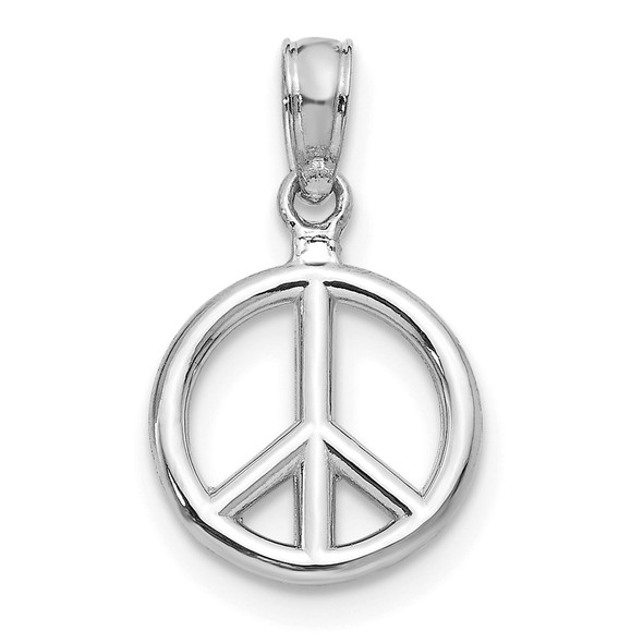 14K White Gold Polished Peace Symbol Pendant