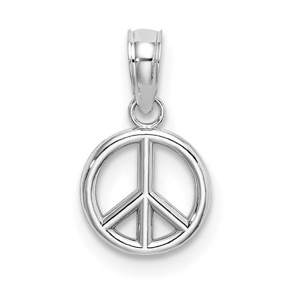 14k White Gold 3-D Peace Symbol Pendant K7357W