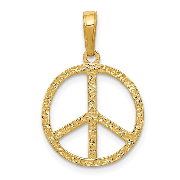 14k Yellow Gold Textured Peace Sign Pendant C3053