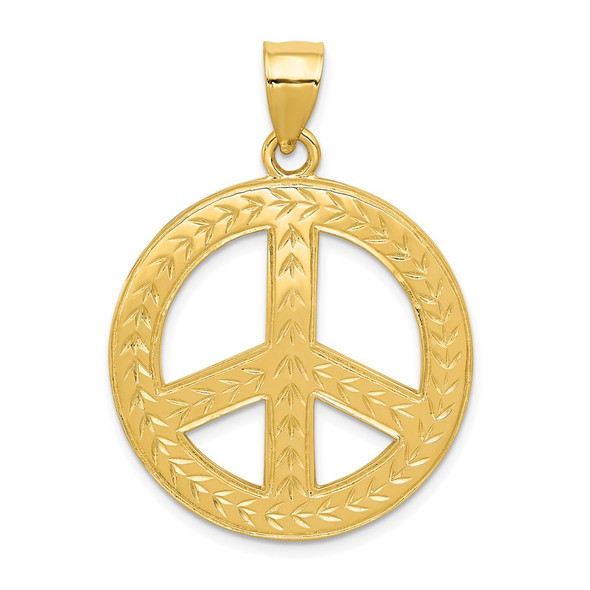 14k Yellow Gold Solid Polished Peace Sign Pendant
