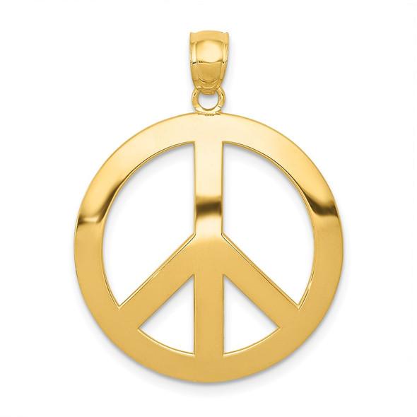 14k Yellow Gold Peace Sign Pendant C4171