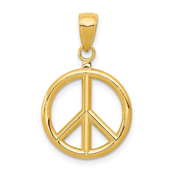 14k Yellow Gold 3D Polished Peace Sign Pendant