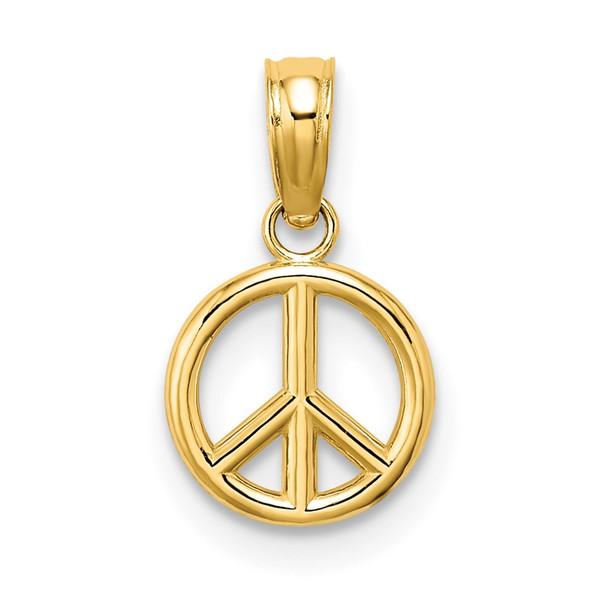 14k Yellow Gold 3-D Peace Symbol Pendant