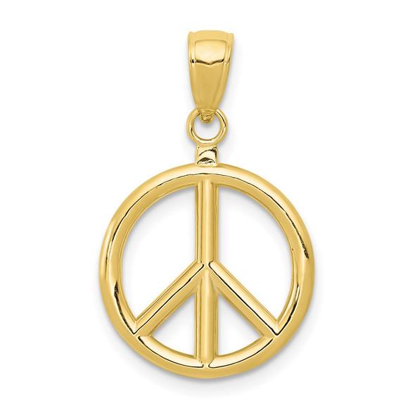 10k Yellow Gold Peace Symbol Pendant