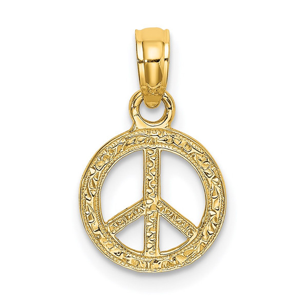 14k Yellow Gold Flat and Textured Mini Peace Sign Pendant