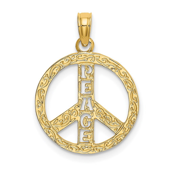 14k Yellow Gold Flat and Textured Peace Sign Pendant