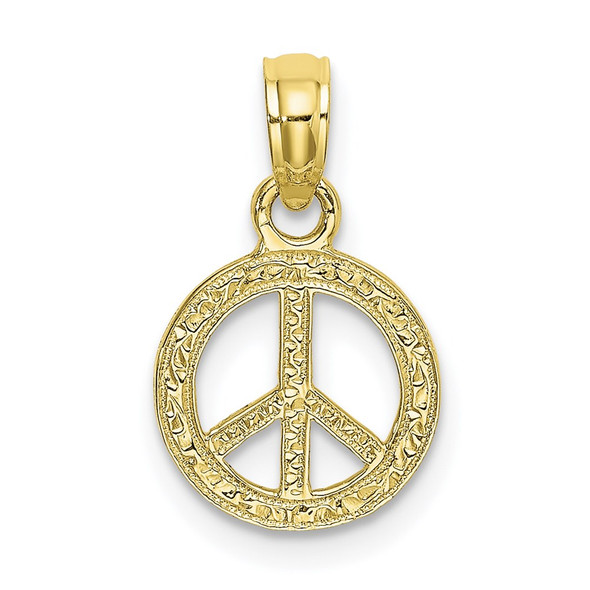 10k Yellow Gold Flat and Textured Mini Peace Sign Pendant