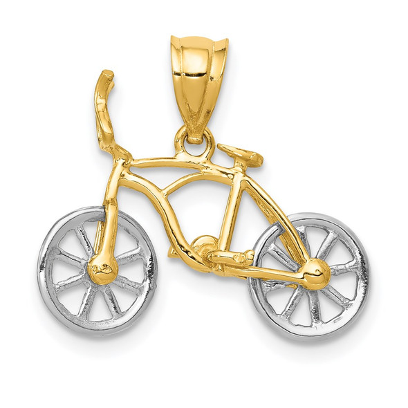 14k Yellow and White Gold Moveable Bicycle Pendant