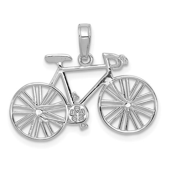 14k White Gold Polished Bicycle Pendant