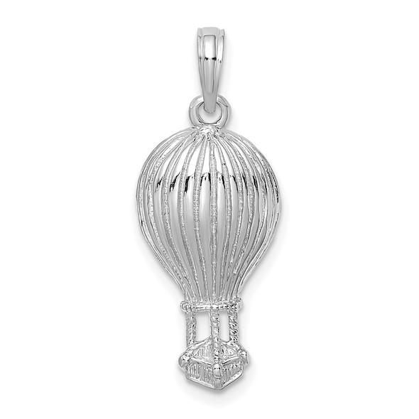 14k White Gold Polished Hot Air Ballon Pendant