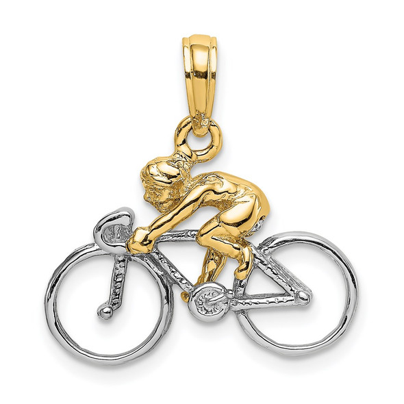 14k Gold With Rhodium 3-D Bicycle With Rider Pendant