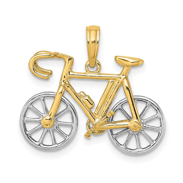 14k Gold With Rhodium-Plating 3-D Ten Speed Bicycle Pendant
