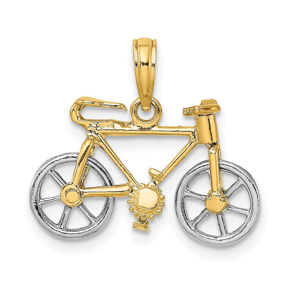 14k Gold with Rhodium-Plating 3-D Bicycle w/Moveable Tires Pendant