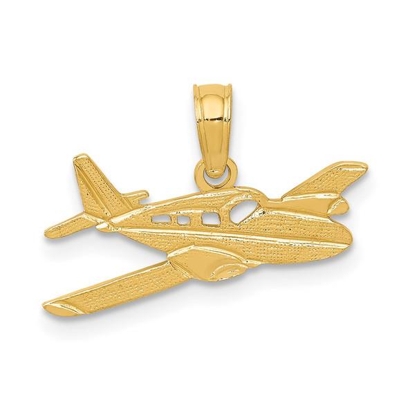 14k Yellow Gold Cessna Plane Pendant
