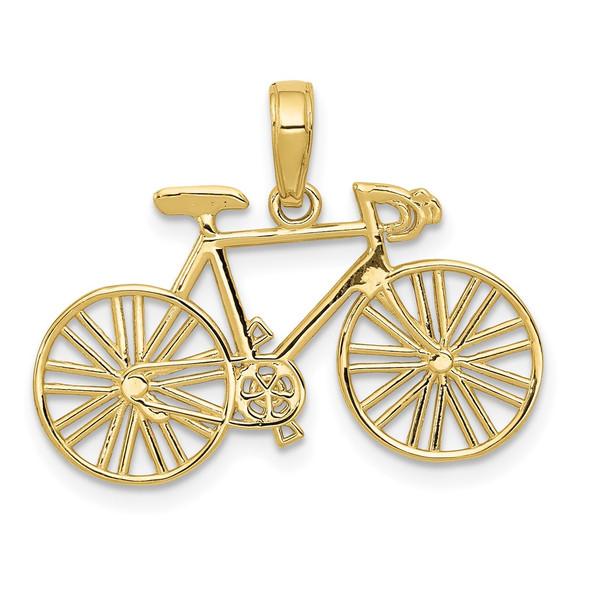 10k Yellow Gold Polished Bicycle Pendant