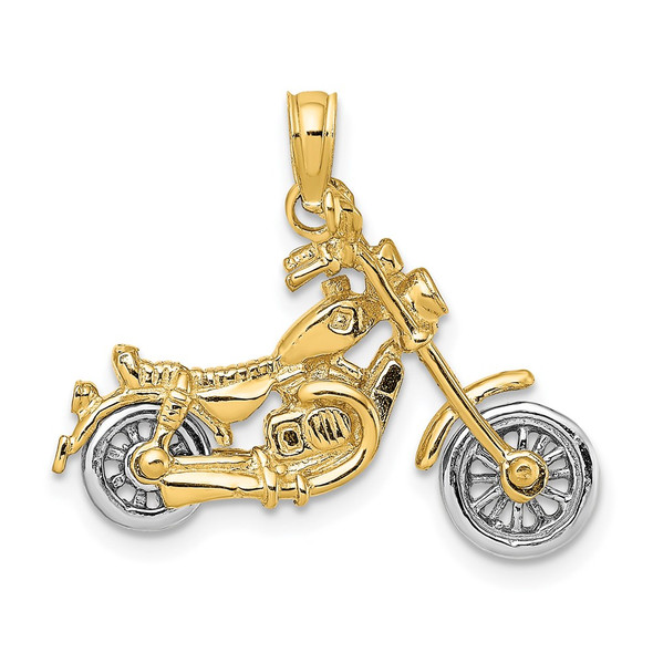 14k Gold with Rhodium-Plating 3-D Moveable Motorcycle Pendant K9164