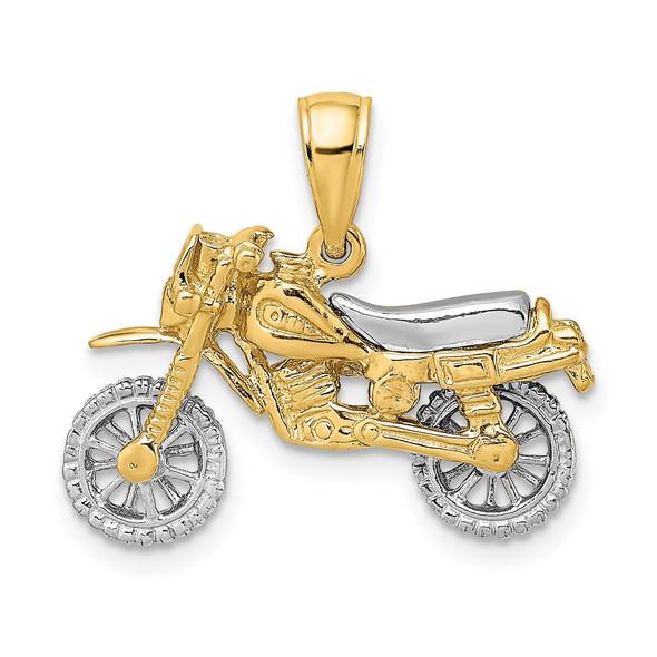 14k Gold With Rhodium-Plating 3-D Dirt Bike Motorcycle Pendant