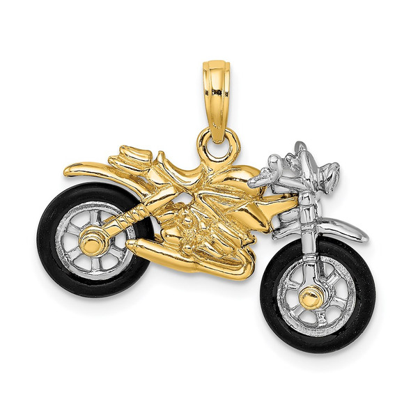 14k Gold with Rhodium-Plating 3-D Motorcycle w/Rubber Tires Pendant