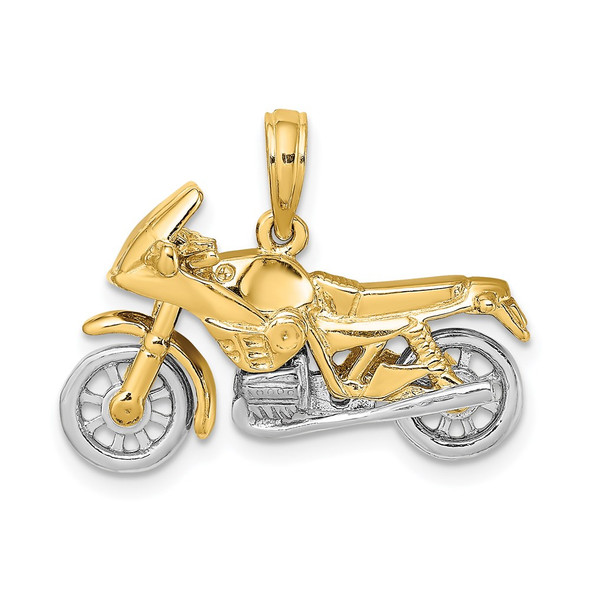 14k Gold with Rhodium-Plating 3-D Moveable Motorcycle Pendant K9162