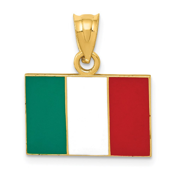14k Yellow Gold Solid Enameled Italy Flag Pendant