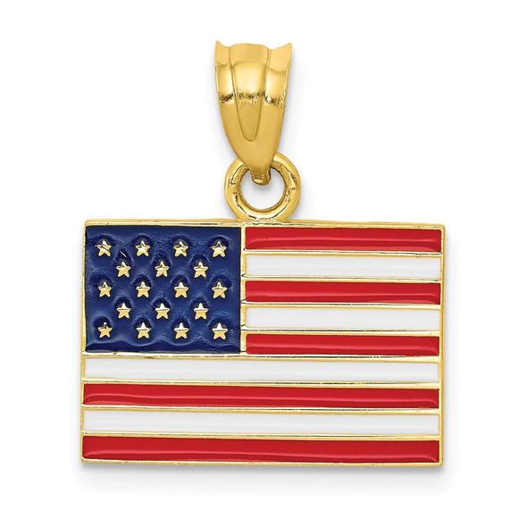14k Yellow Gold Enameled United States Flag Pendant