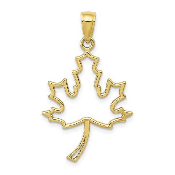 10k Yellow Gold Maple Leaf Pendant