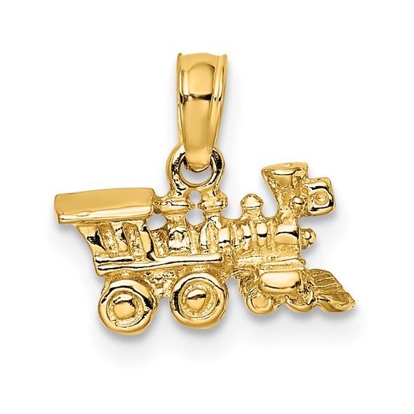 14k Yellow Gold 3-D Miniature Train Pendant D1217