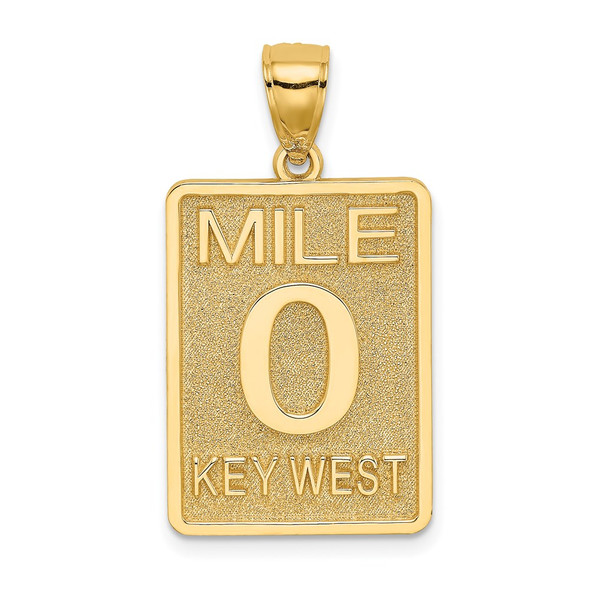 14k Yellow Gold Mile Marker 0 / Key West Pendant