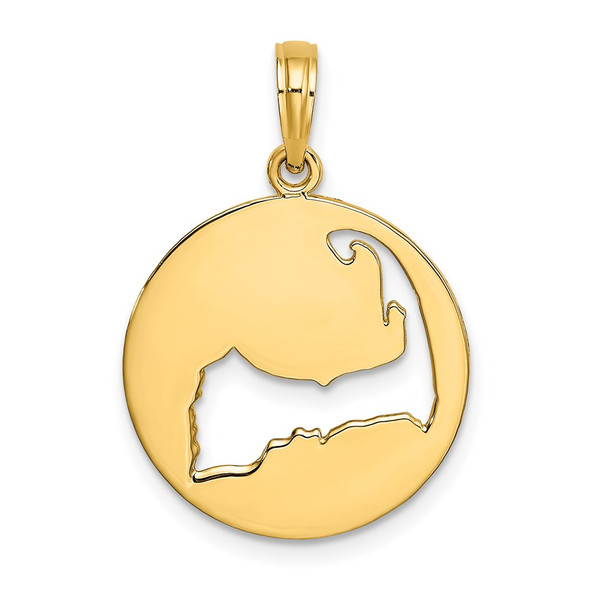 14k Yellow Gold Polished and Cut-Out Cape Cod Silhouette Pendant