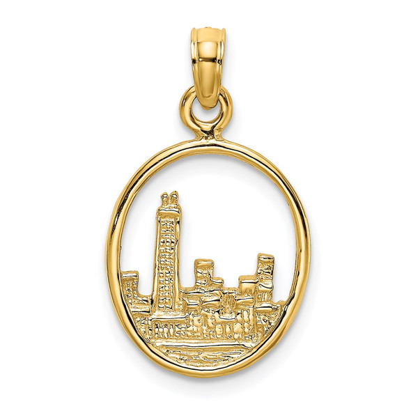 14k Yellow Gold 2-D Chicago Skyline In Circle Frame Pendant