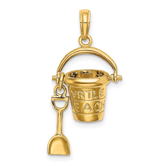 14k Yellow Gold Myrtle Beach Bucket and Shovel Pendant