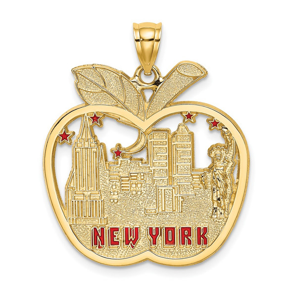 14k Yellow Gold w/Red Enamel Apple w/New York Skyline Pendant