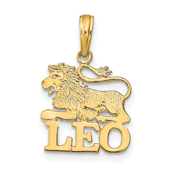 14k Yellow Gold Engraved and Block Leo Pendant