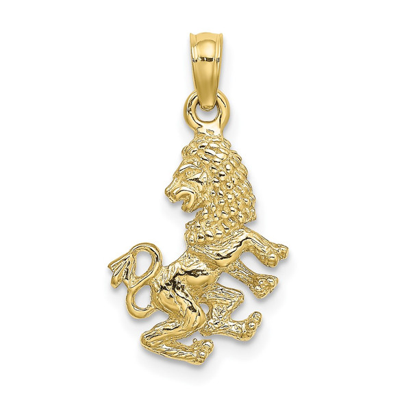 10k Yellow Gold 3-D Leo Zodiac Pendant