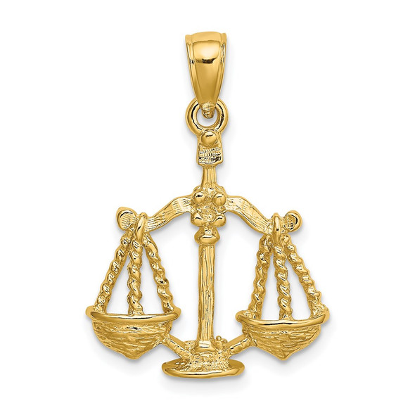 14k Yellow Gold Large Libra Zodiac Pendant