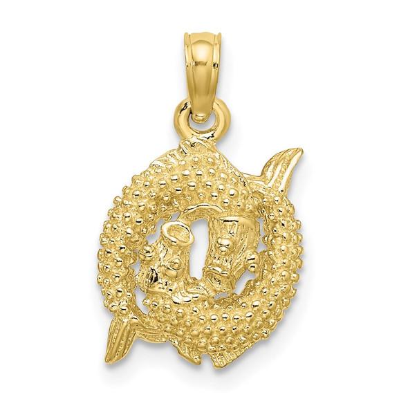 10k Yellow Gold 3-D Pisces Zodiac Pendant
