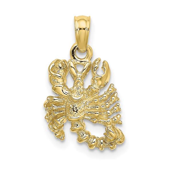 10k Yellow Gold 3-D Scorpio Zodiac Pendant