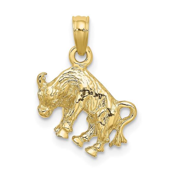10k Yellow Gold 3-D Taurus Zodiac Pendant