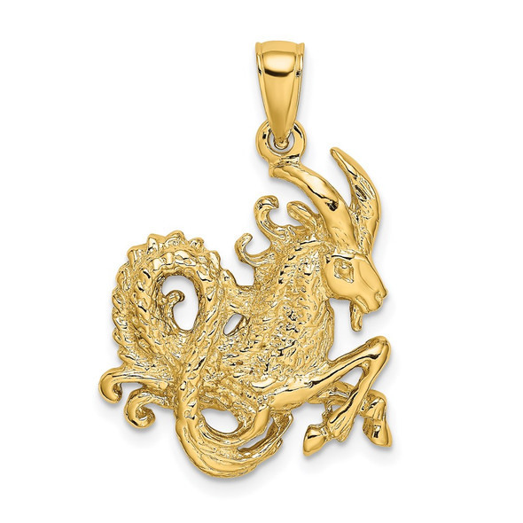 14k Yellow Gold Large Capricorn Zodiac Pendant