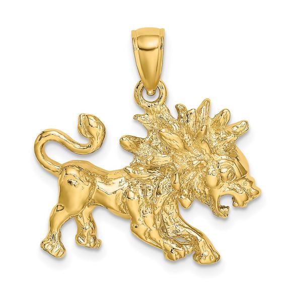 14k Yellow Gold Large Leo Zodiac Pendant