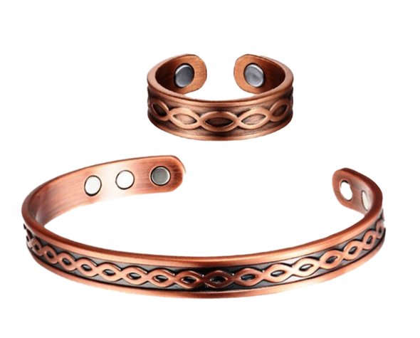 Bubbles - Solid Copper Magnetic Cuff Bracelet and Ring Set
