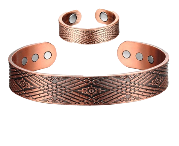Crossroads - Solid Copper Magnetic Cuff Bracelet and Ring Set