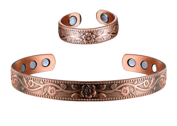 Flora - Solid Copper Magnetic Cuff Bracelet and Ring Set