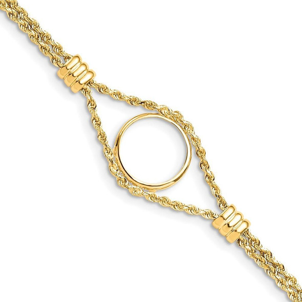 """7.25"""" 14k Yellow Gold Rope Chain & 15mm Coin w/ 4 Stations Bracelet"""