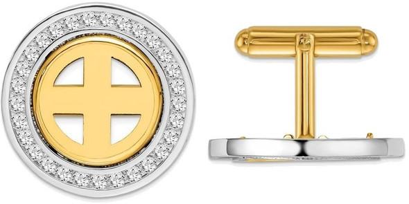 14k Two-tone Channel Set AA Diamond 15mm Coin Bezel Cuff Links