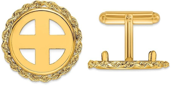 14k Yellow Gold 1/10oz Panda Coin 2mm Rope 18mm Coin Bezel Cuff Links
