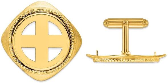 14k Yellow Gold Textured & Beaded 21.6mm Coin Bezel Cuff Links