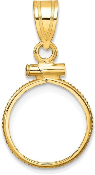 14k Yellow Gold 13mm Polished Screw Top Coin Bezel Pendant - 2 Pesos, US$ 1 Type 1
